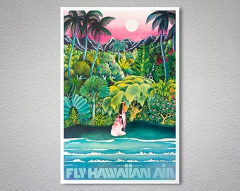 Fly Hawaiian Air Travel Poster - Poster Print, Sticker or Canvas Print / Gift Idea