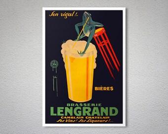 Brasserie Lengrand  Vintage Food & Drink Poster - Poster Print, Sticker or Canvas Print / Gift Idea