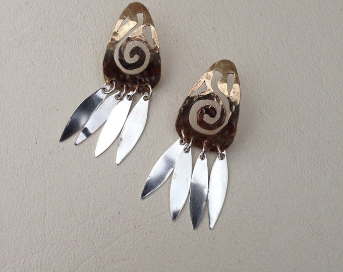 Hand cut hammered brass swirl with silver feather earrings