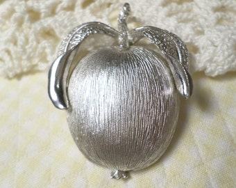 Vintage Silver Tone Apple Brooch Signed Sarah Coventry DL#7256