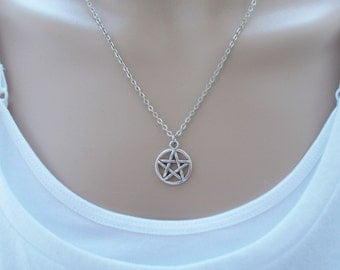 pentagram necklace silver necklace simple jewellery silver charm necklace dainty necklace silver jewellery womens gift idea pentacle charm