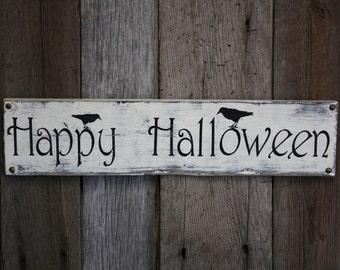 Halloween Sign, Distressed Halloween Sign, Weathered Halloween Sign, Fall Decor, Autumn Decor