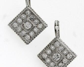 Ladies Reproduction Modern 18k White Gold Diamond Drop Earrings