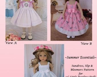 "PDF Summer Sundress Slip Bloomers Pattern for 13"" Effner Little Darling Doll & 14"" Betsy Dolls"