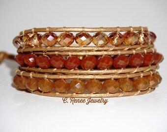 Handmade Leather 3 Wrap Bracelet