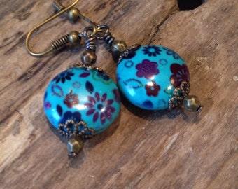 Boho Earrings, hand Painted Porcelain, Aqua Blue Dangle Earrings, blue boho Earrings, Gift Earrings