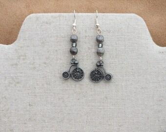 Bicycle earrings, penny farthing earrings, grey earrings