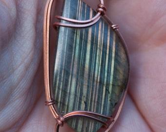 Yellow Orange Flash Labradorite Pendant, Copper Wire Wrapped Stone Pendant, Stone Wire Wrap Pendant, Labradorite Wire Wrapped Pendant