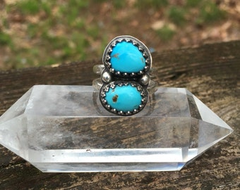 Two Stone Chinese Turquoise Ring, Size 7, Sterling Silver, Handmade, Natural Stone