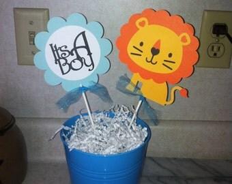 Lion It's a boy centerpiece sticks, Safari centerpiece sticks, Its a boy decorations, Lion baby shower