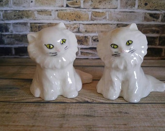 Cat Figurines, Ceramic Cats, White Cats, Green Eyes, Collectibles