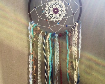 8 inch handmade earthy browns and turqoise dreamcatcher