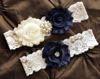 SALE- Wedding Garter, Bridal Garter, Ivory Lace Garter, Navy Garter Set, Navy Wedding Garter Belt, Something Blue, Navy & Ivory Garter Set