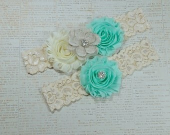 Rustic Garter Set, Ivory Wedding Garter Set, Rustic Wedding, Lace Bridal Garter, Rustic Wedding Garter Set-Style 270