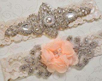 Peach Wedding Garter, Bridal Garter, Ivory  Lace Garters, Flower Rhinestone Bridal Garter Set, Joanna Style- 101322