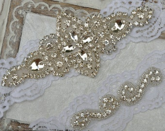 Wedding Garter Set, Bridal Garter Set, Vintage Wedding, White Off Lace Garter, Crystal Garter Set - Style 500