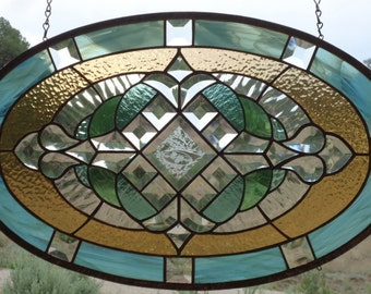 "stained glass window panel""BEVELED BEAUTY"" beveled glass,antique glass,oval beveled glass, stained glass sun catcher,sun catcher"