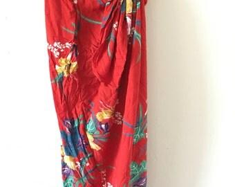 Vintage Aloha 1980s Hawaiian Floral Skirt