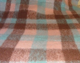 Vintage Moffat Kilmahog  Turquoise and Pink Wool Throw