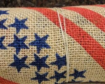 Americana Stars And Stripes Burlap Ribbon
