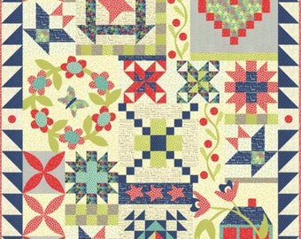 Hometown Charm Regular Print Quilt Kit by Pat Sloan for Moda with Fabrics From Hometown Girl fabrics Finished Size 56 x 68