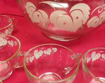 Punch Bowl and Cups Set Anchor Hocking Grape Leaf Pattern