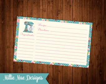 SALE 25% OFF Shabby Chic Kitchen Mixer Recipe Cards - Instant Download 3x5 and 4x6
