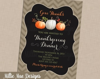 SALE 25% OFF Custom Thanksgiving Invitation - Watercolor