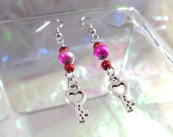 KEY heart, dangling earrings with red and pink ball