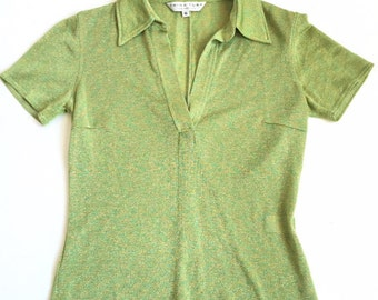 75%  OFF EVERYTHING True 90s Club Kid Lime Green Sheer Sparkle Top