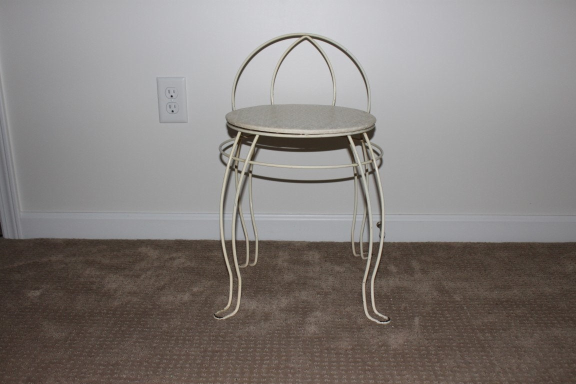 RESERVED FOR JOHNSON Vintage White Vanity Stool Chair