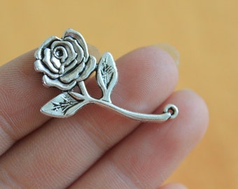 Rose Flower Charms Pendant Antique Silver Tone Long Stemmed 35*20mm