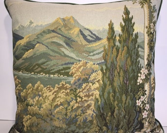 Vintage Italian Tapestry Pillow-102  Free shipping,free down feather insert.