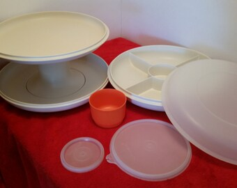 Tupperware serve it all and then some set, tupperware cake stand, tupperware chips and dip, tupperware party tray