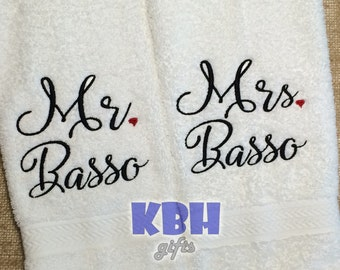 Set of Mr. and Mrs. Hand Towels
