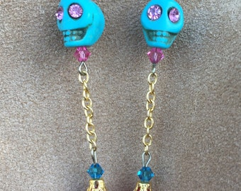 Dancing Spirits Sugar Skull Earrings All Hallows' Eve Day of the Dead