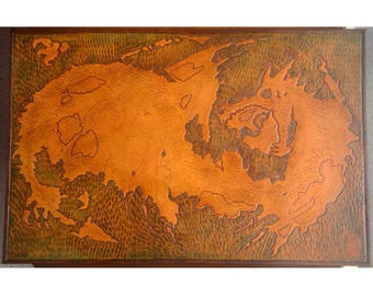 Large Map, Custom Carved Leather Map 11x17