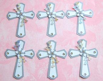 6 Elegant Cross ready made cardmaking embellishments handmade diecuts card toppers wedding christening sympathy crafts scrapbooks cards
