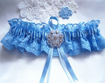 Blue wedding garter bridal garter with rhinestones lace