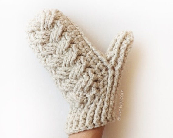 Crochet Pattern Holden Cable Mittens by Lakeside Loops