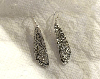 Dust Storm Of Texture - Fine Silver Dangle Earrings