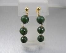 14K Jade Earrings, Spinach Jade Beads, Screw Back Dangle Drop Earrings, Chinese Art Deco Jade Jewelry 10.9mm Jade Beads