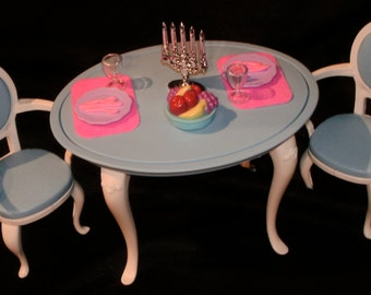 80's-90's BARBIE Doll DINING ROOM Furniture and Accessories for Two!