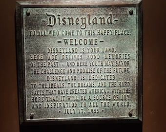 Disneyland welcome plaque replica aged finish