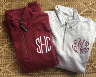 Monogram Charles River Sweatshirt- Zip Up- Quarter Zip- Womens (unisex fit)