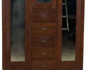 Vintage Mahogany American Chifferobe Chifforobe Wardrobe Armoire