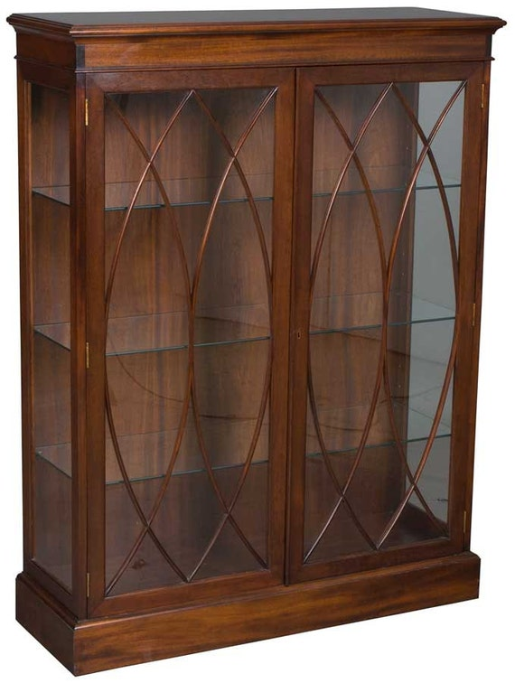 Vintage Mahogany Glass Door Bookcase Or Display By