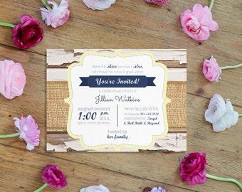 Sets of 10 Rustic Burlap Bridal Shower Invitation