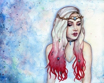 Bohemia Watercolour Painting - Fine Art Print - Hippie Bohemian Girl