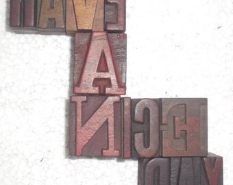 """12 Antique Letterpress Printers Wood Type Blocks """"Have A Nice Day"""" hand carved & used in India for craft decor etc 33 m.m. #be-31"""